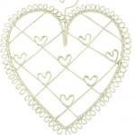 Cream Wire Heart Memo Holder