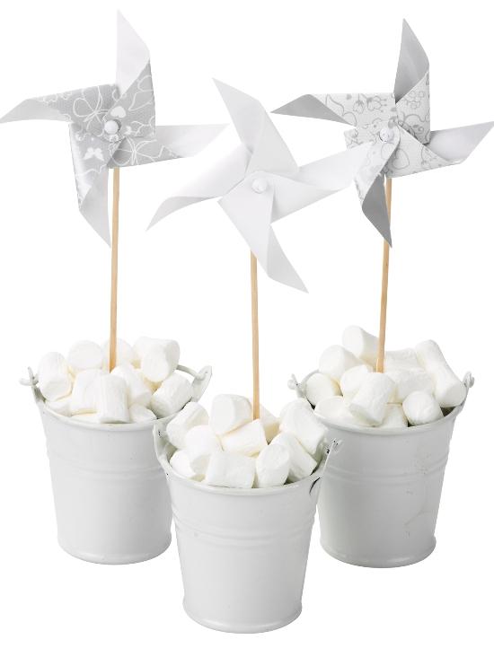 Silver & White Wedding Windmills