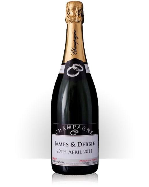 Personalised wedding champagne magnum