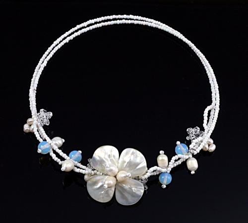 Brigitte Pearl Flower Choker Bridal Jewellery