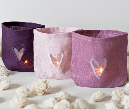 Linen Wedding Candle Bags