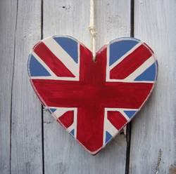 Union Jack Wooden Heart