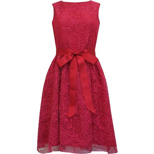 Berry red lace bridesmaids dress