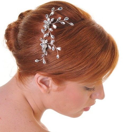 Diamante Leaf Sprigs Side Wedding Comb
