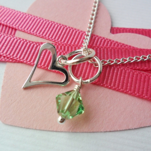 Bridesmaids necklace heart and birthstone