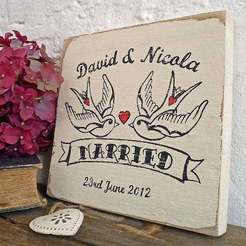Love bird wooden block Delightful Living