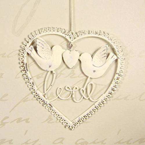 Love birds metal heart Lisa Angel